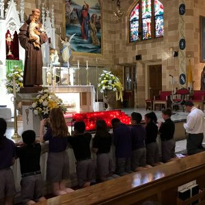 monthly rosary at our Catholic school